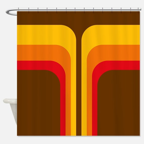 Retro Geometric Brown Shower Curtain