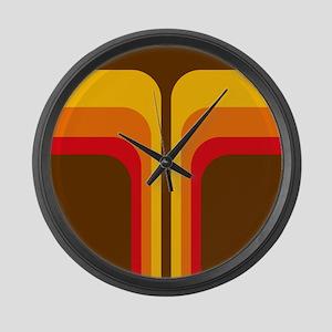 Retro Geometric Brown Large Wall Clock