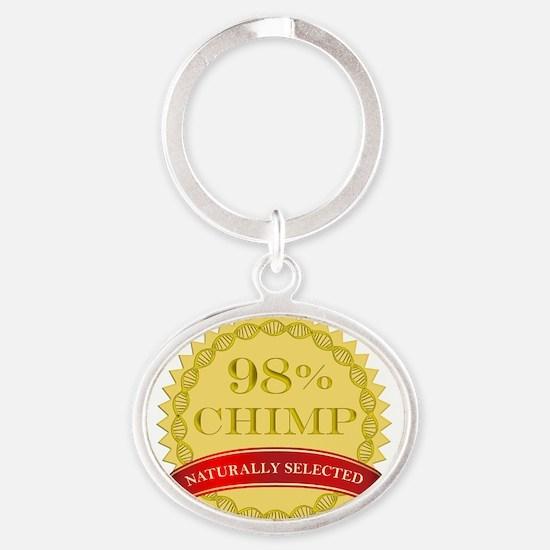 98chimpnaturally2 Oval Keychain