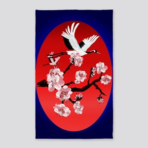 Large PosterFlying Crane and Sun-(m 3'x5' Area Rug