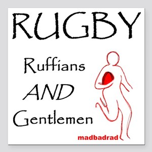 """Rugby Ruffians and Gentl Square Car Magnet 3"""" x 3"""""""