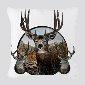 mule deer oil painting Woven Throw Pillow