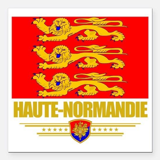 """Haute-Normandie (Flag 10 Square Car Magnet 3"""" x 3"""""""