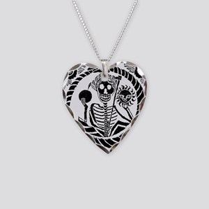 USESkeleton and snake square  Necklace Heart Charm