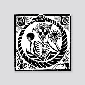 "USESkeleton and snake squar Square Sticker 3"" x 3"""