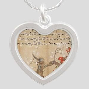 reiki principles plum tree L Silver Heart Necklace