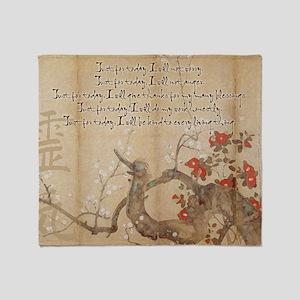 reiki principles plum tree LARGE FRA Throw Blanket