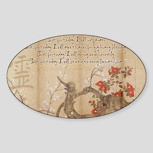 reiki principles plum tree LARGE FR Sticker (Oval)