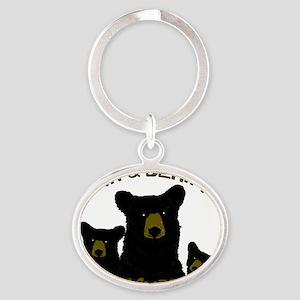 Grin  bear it! Oval Keychain