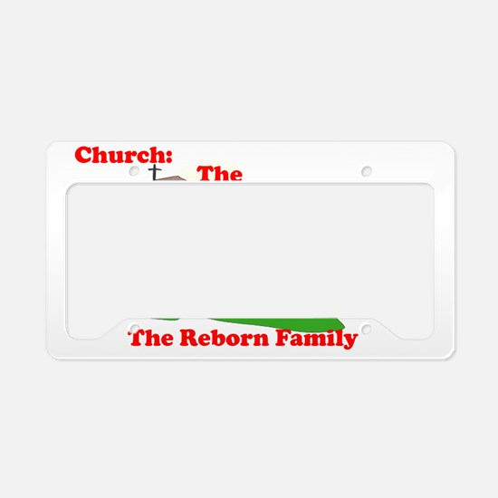 Church_no bg_red on white cop License Plate Holder