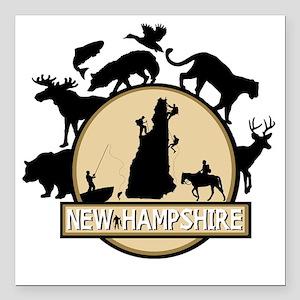 "New Hampshire Square Car Magnet 3"" x 3"""