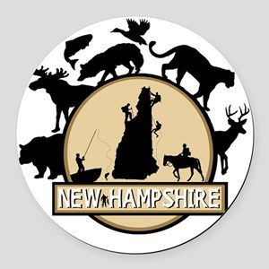New Hampshire Round Car Magnet