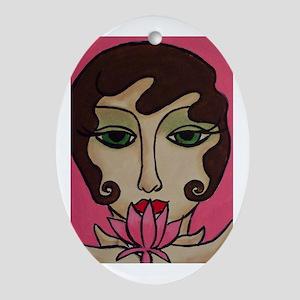 Lotus Blossom Oval Ornament