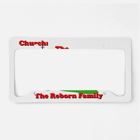 Church_no bg_red on black cop License Plate Holder