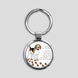footprints-beagle copy Round Keychain