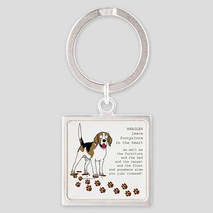 footprints-beagle copy Square Keychain