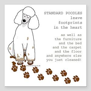 "footprints-poodle standa Square Car Magnet 3"" x 3"""