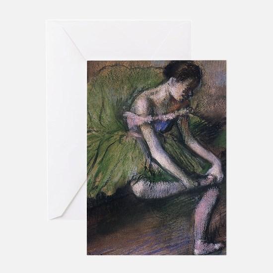 degas ballet green Greeting Card