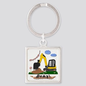 Excavator Shirt copy Square Keychain