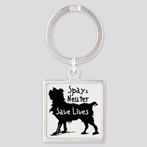 blacksavelivesdog-onlight Square Keychain