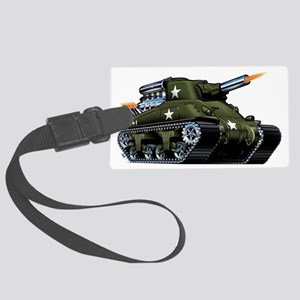 M4A1ShermanBlown Large Luggage Tag