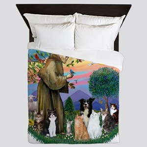 StFrancis-ff-7 cats-BorderCollie Queen Duvet