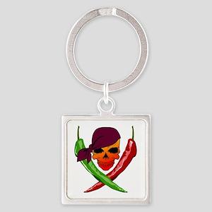 Chili Pirate-blk Square Keychain