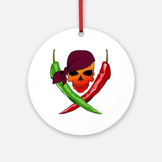 Chili Pirate-blk Round Ornament