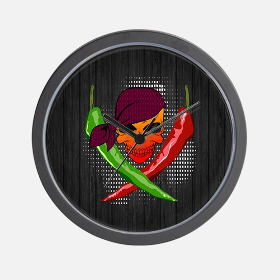 Chili Pirate-Lrg-button Wall Clock