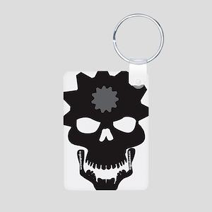 Flip Flop Skull Aluminum Photo Keychain