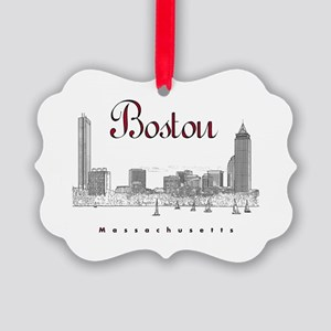 Boston_7x7_BostonSkyline_BlackRed Picture Ornament