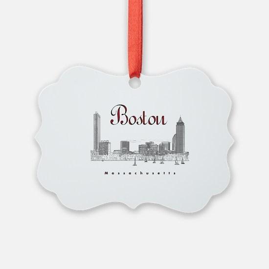 Boston_7x7_BostonSkyline_BlackRed Ornament