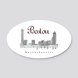 Boston_7x7_BostonSkyline_BlackRed Oval Car Magnet