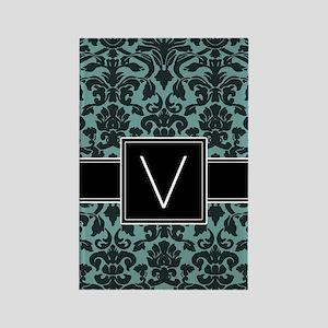 v_monogram_iphone_damask_teal Rectangle Magnet