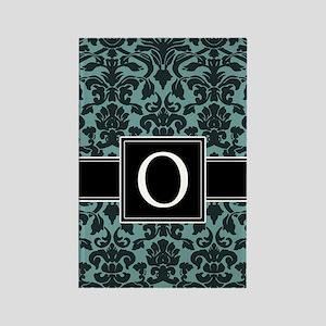 o_monogram_iphone_damask_teal Rectangle Magnet