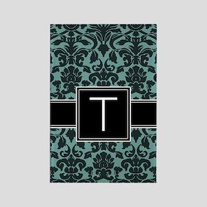 t_monogram_iphone_damask_teal Rectangle Magnet