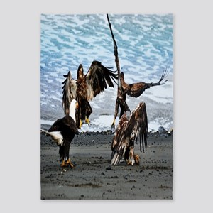 Eagles Greeting or Conflict 5'x7'Area Rug