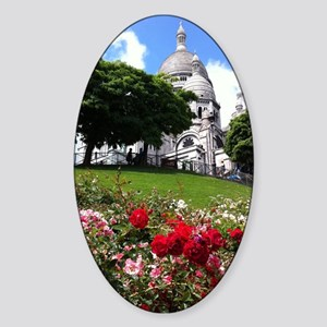 Sacre Coeur roses Sticker (Oval)