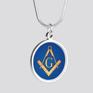 Masonic Square and Compass Silver Round Necklace