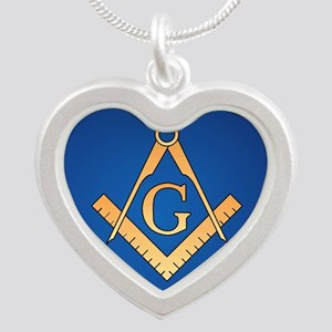 Masonic Square and Compass Silver Heart Necklace