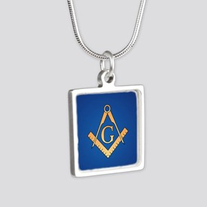 Masonic Square and Compass Silver Square Necklace