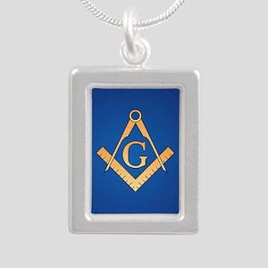 Masonic Square and Compa Silver Portrait Necklace