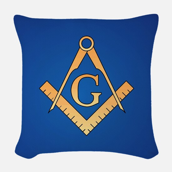 Masonic Square and Compass Woven Throw Pillow