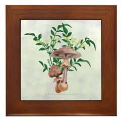 Gold Spotted Mushrooms Star Flowers Framed Tile