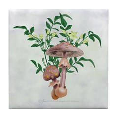 Gold Spotted Mushrooms Star Flowers Tile Coaster