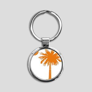 SC Palmetto  Crescent (2) orange Round Keychain