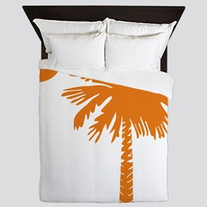 SC Palmetto  Crescent (2) orange Queen Duvet