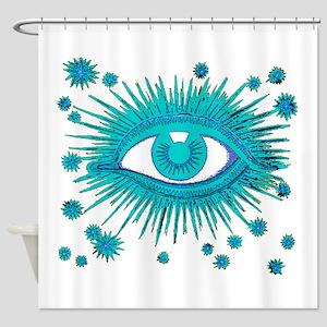 Big Blue Eye Eyeball Mystic Weird Shower Curtain