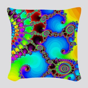 Colorful Coastline Woven Throw Pillow
