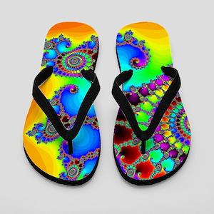 Colorful Coastline Flip Flops